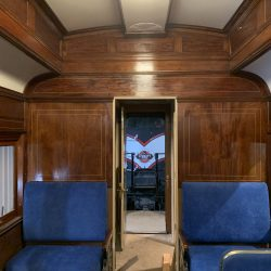 Interior work nearing completion, the new seats and refurbished woodwork of car 1194 contrast sharply with the car's condition when it entered our shops.