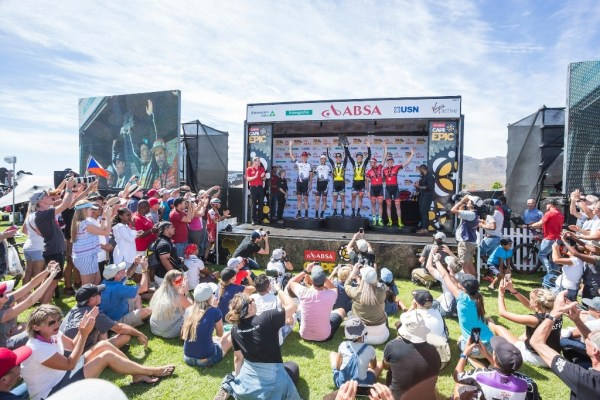 Jaroslav Kulhavý and Christoph Sauser Photo accept the applause as they stand on the second step of the 2017 Absa Cape Epic podium. Photo by Dominic Barnardt/Cape Epic/SPORTZPICS.