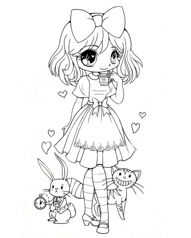 Get This Free Preschool Chibi Coloring Pages to Print T77HA