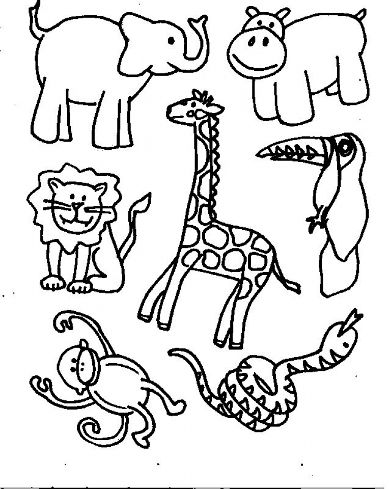 Simple Animals Coloring Pages to Print for Preschoolers   0VJOR