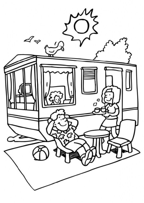 camping coloring page # 26