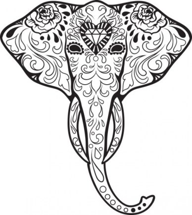 Difficult Elephant Coloring Pages for Grown Ups 897h67g