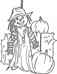 Easy Printable Scarecrow Coloring Pages for Children PTyqX