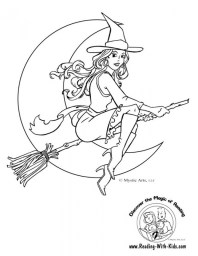 Free Simple Witch Coloring Pages for Children t6gbg