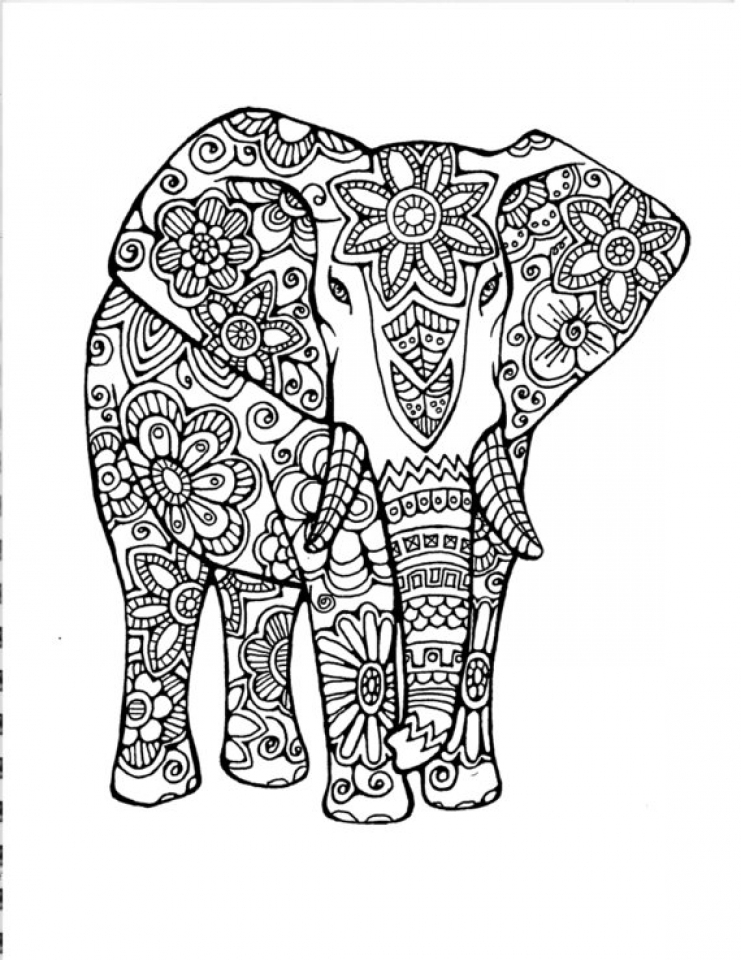 Hard Elephant Coloring Pages for Adults   13579