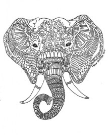 Hard Elephant Coloring Pages for Adults 247954
