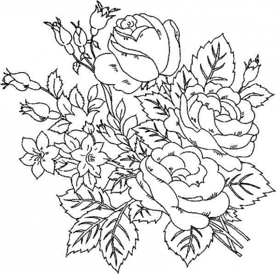 Online Roses Coloring Pages for Adults   17433