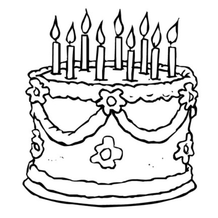 Picture of Cake Coloring Pages Free for Children upmly