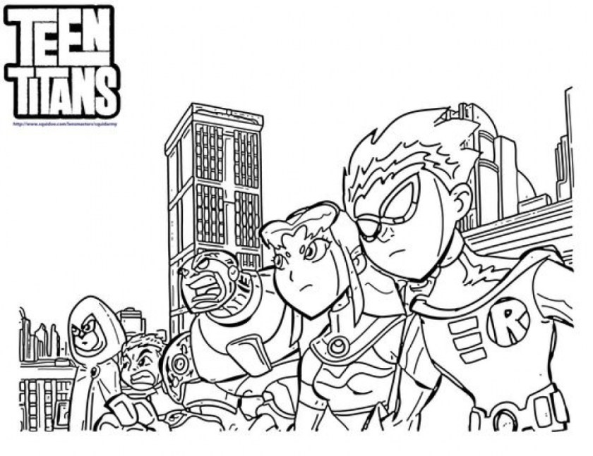 free printable teen titans coloring pages
