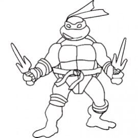 Printable Ninja Turtle Coloring Page Online 21065