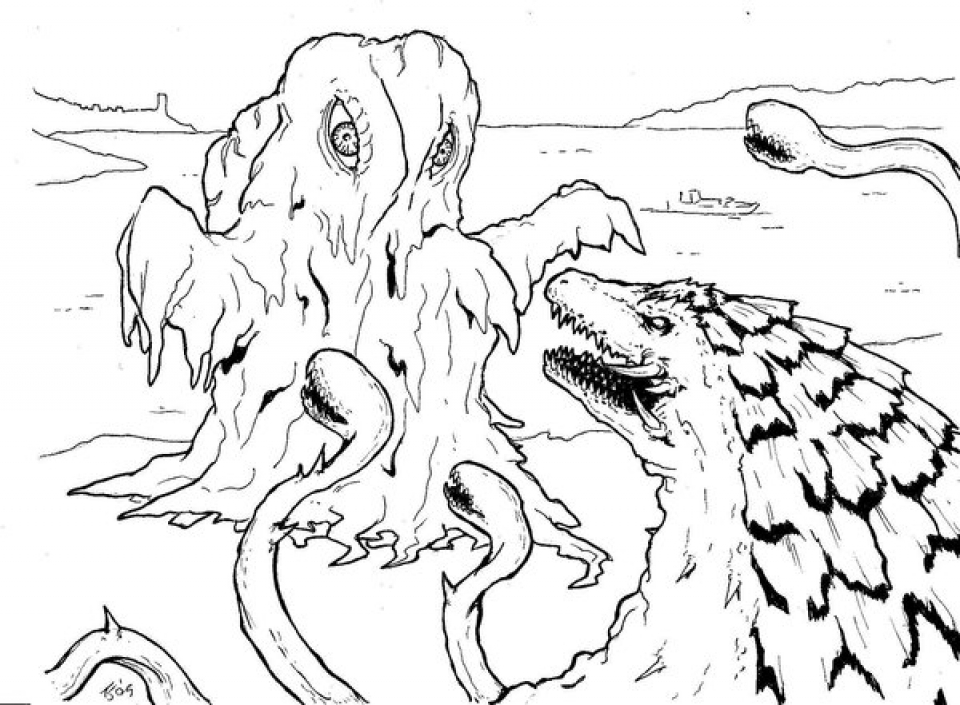 Printables for Toddlers   Godzilla Coloring Pages Online Free   qKF3G