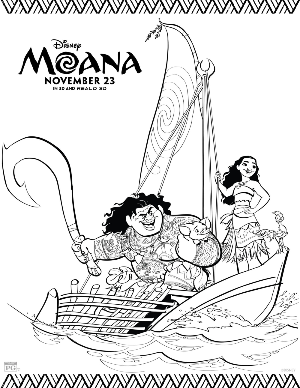 20+ Free Printable Disney Princess Moana Coloring Pages