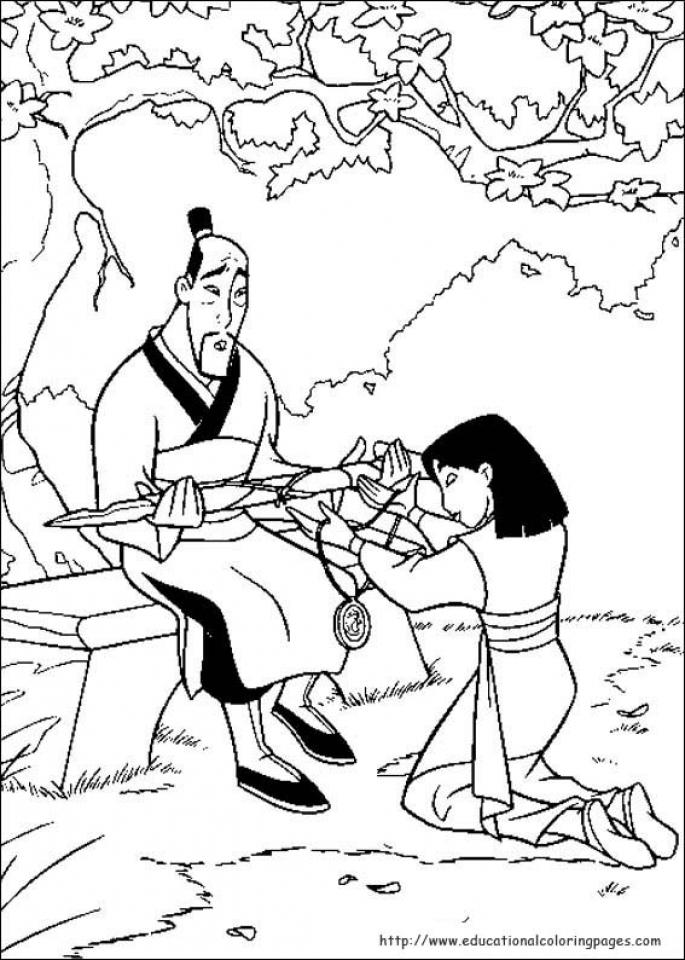 Free Disney Princess Mulan Coloring Pages for Girls   pt968