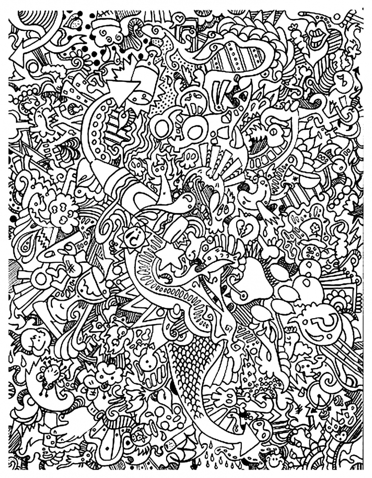 20+ Free Printable Doodle Art Coloring Pages For Adults -  EverFreeColoring.com