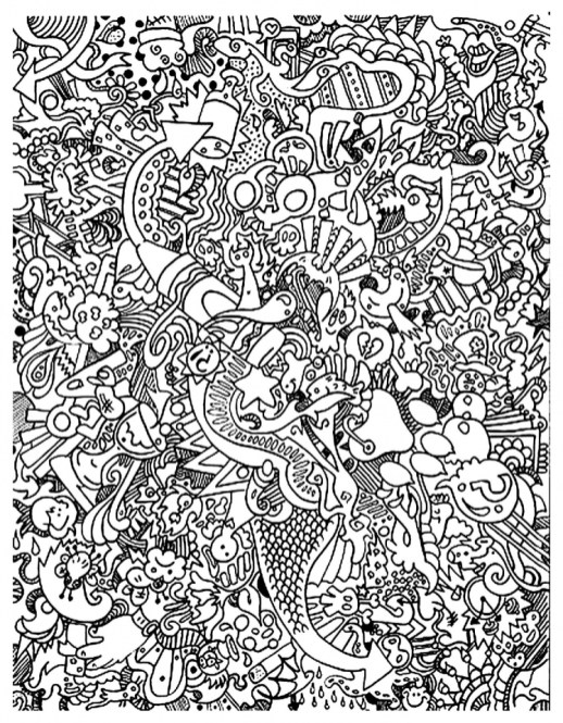 Free Doodle Art Coloring Pages for Adults GT52Z
