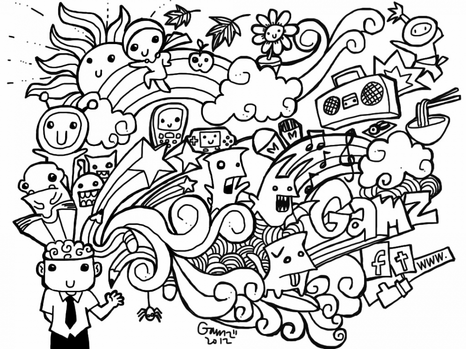 Printable Doodle Art Coloring Pages for Grown Ups   TC54M