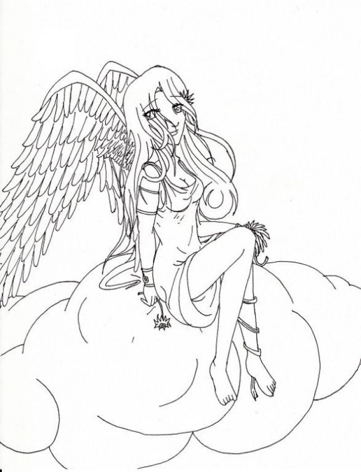 Printable Hard Coloring Pages of Angel for Grown Ups   8CFQ34