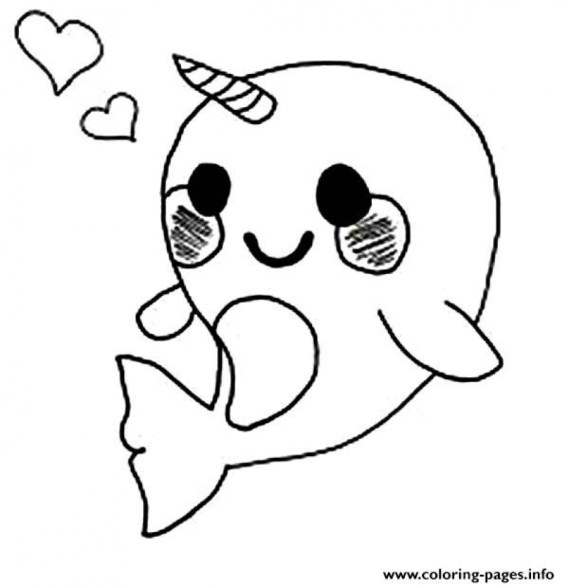 Printable Narwhal Coloring Pages Online 90455