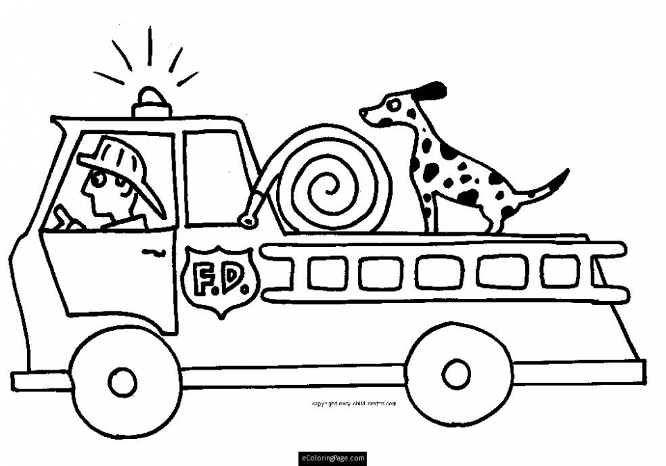 Free Fire Truck Coloring Page for Toddlers   54503