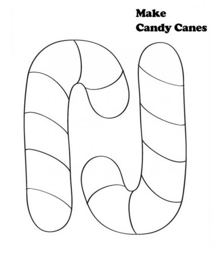 Image of Candy Cane Coloring Page to Print for Kids 48560