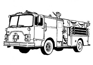 Image of Fire Truck Coloring Page to Print for Kids 48564