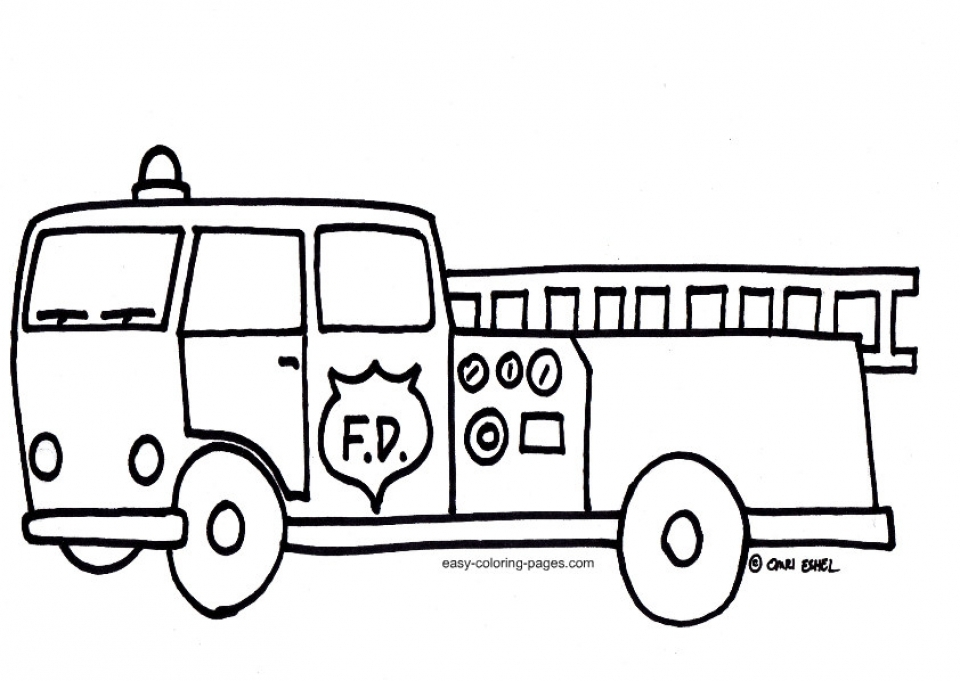 Online Fire Truck Coloring Page to Print   58050