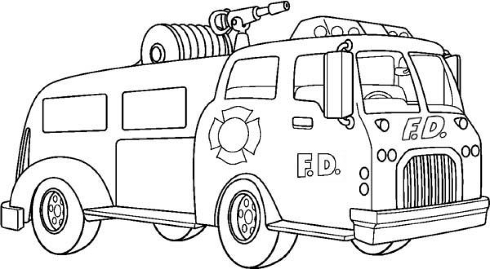 Online Printable Fire Truck Coloring Page   49299
