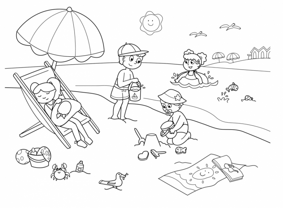 20 Free Printable Summer Coloring Pages Everfreecoloring Com