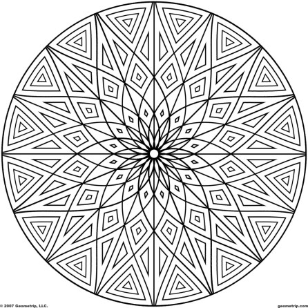Hard Geometric Coloring Pages to Print Out - 69031