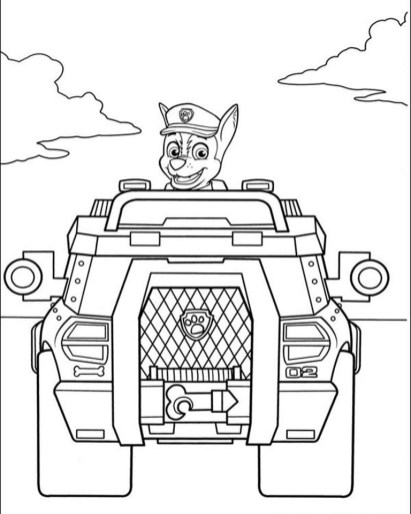 Kids Printable Paw Patrol Coloring Pages Chase - 67391