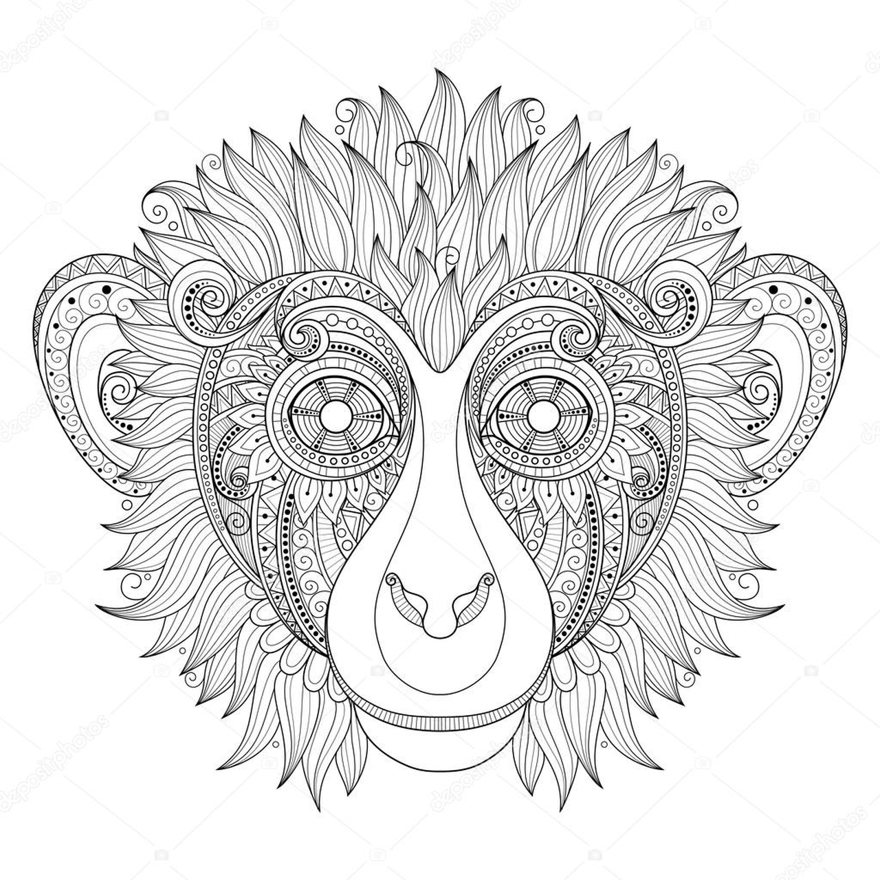 Monkey Coloring Pages for Adults - 90317