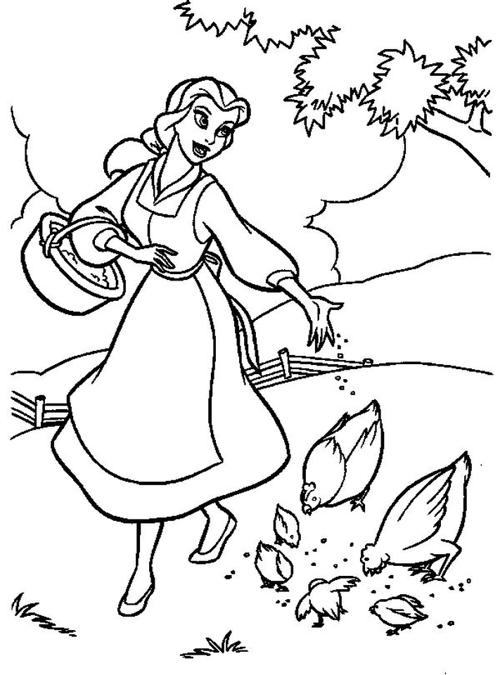 Princess Belle Girls Coloring Pages to Print Online - 67342