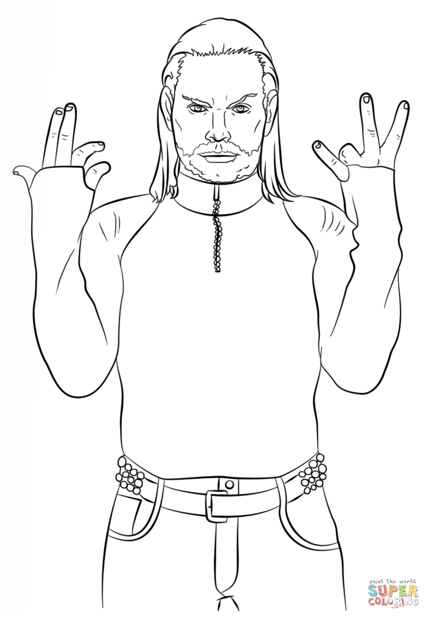 Printable wwe coloring pages jeff hardy - 54891