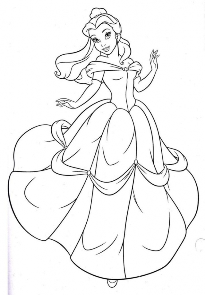Get This Disney Princess Belle Coloring Pages Online 73518 | free online printable disney princess coloring pages