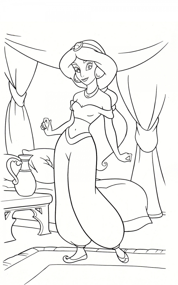 Princess Jasmine With Baby Rajah Aladdin Coloring Page For Kids ... | 960x600