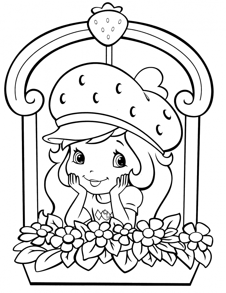 Girls Coloring Pages of Strawberry Shortcake Printable   75173