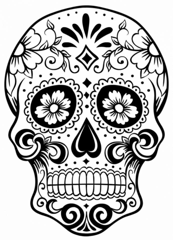 Sugar Skull Coloring Pages Adults Printable   98503