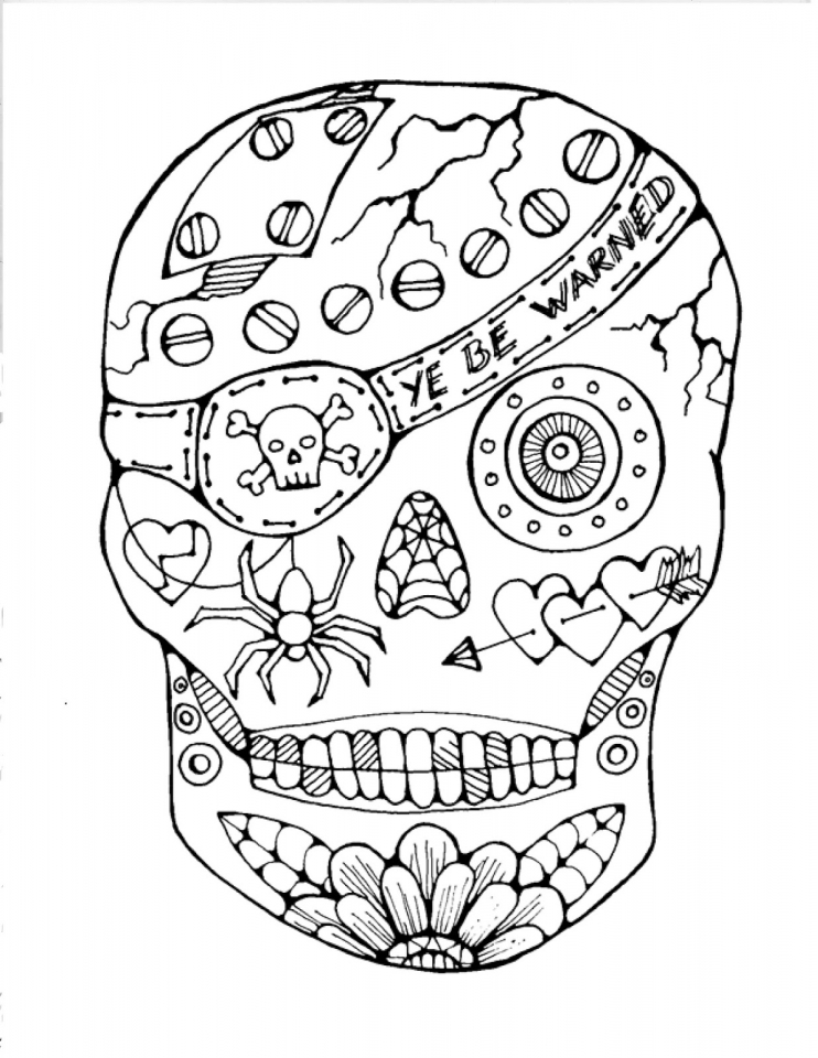 Sugar Skull Coloring Pages to Print for Free   66482