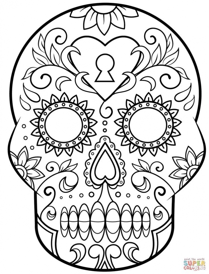 Sugar Skull Coloring Pages to Print for Grown Ups   31682