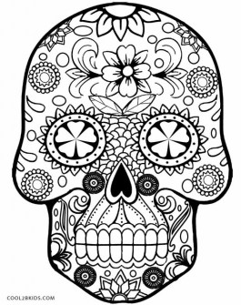 Sugar Skull Coloring Pages to Print for Grown Ups 95669