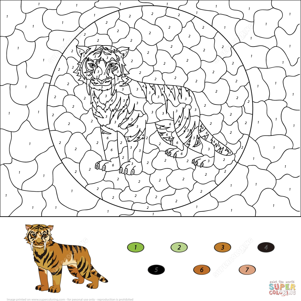 Get This Tiger Coloring Pages Color By Number Printable