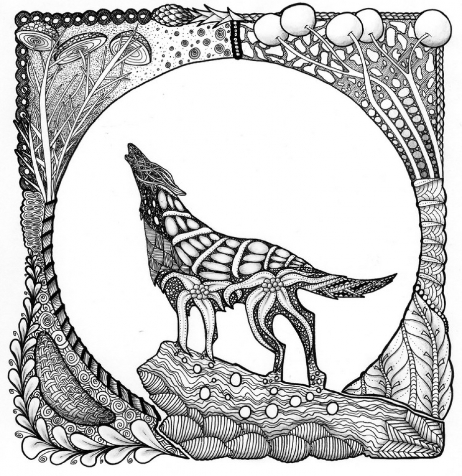 Wolf Coloring Pages for Adults Free Printable   09418