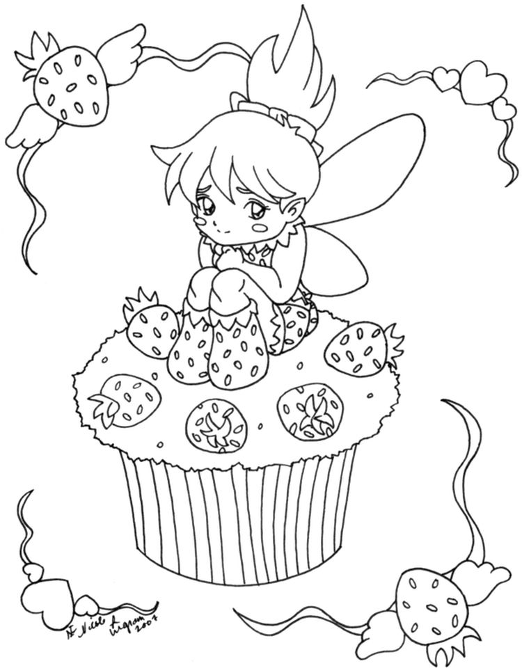 Cute Cupcake Coloring Pages with Strawberry Fairy - 59v31