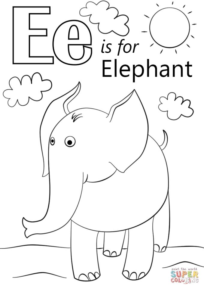 Letter E Coloring Pages Elephant - bfm02