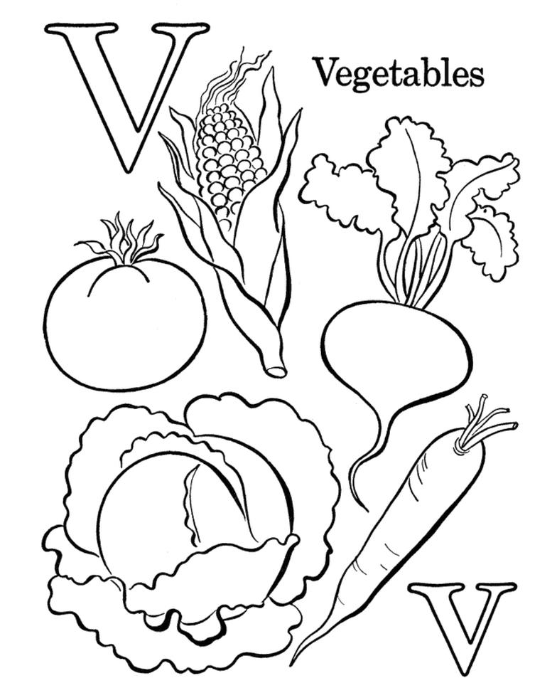 Letter V Coloring Pages Vegetables - v73p2