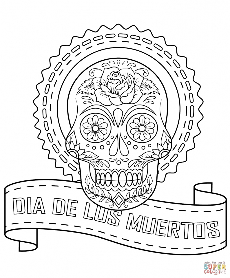 Day of the Dead Coloring Pages Adults Printable   95bx1