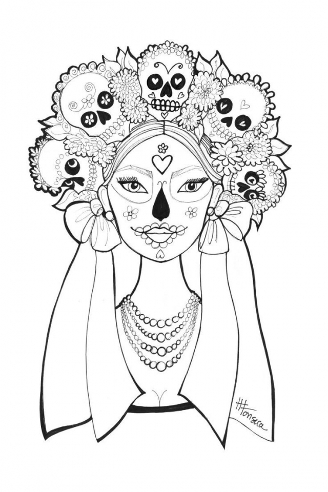 Get This Day of the Dead Coloring Pages Free for Adults ...