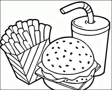Food Coloring Pages hamburger and french fries 7cvr7