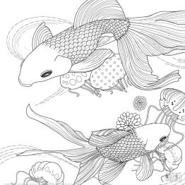 Adult Coloring Pages Animals Fish 1