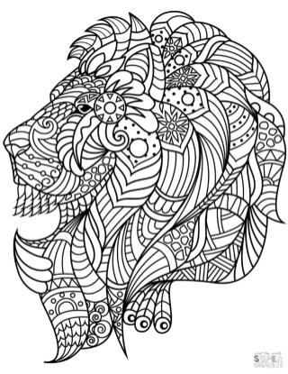 Adult Coloring Pages Animals Lion 1